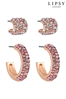 Lipsy Pave Hoop Set- Pack of 2