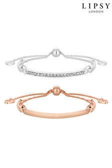 Lipsy Jewellery Pave And Bar Toggle Bracelet - Pack of 2