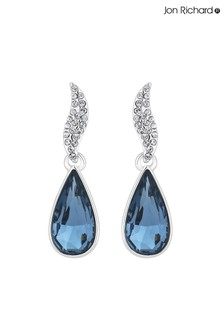 Jon Richard Crystal Pave Top Blue Pear Drop Earring Made With Swarovski Crystals