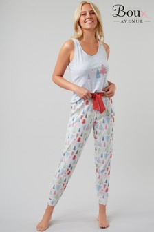 Boux Avenue Slogan Vest Tree Print Jogger PJ Set