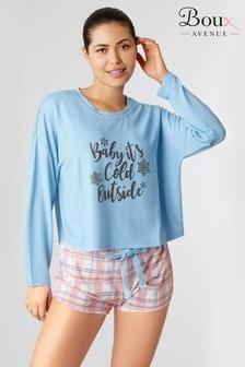 Boux Avenue Pyjamaset mit Top mit Slogan und karierten Shorts