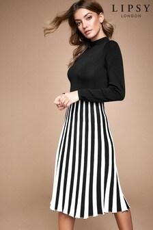 Lipsy Pleated 2-In-1 Long Sleeve Dress