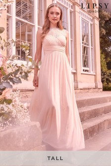 Lipsy Tall Elsa Lace Sleeve Mesh Maxi Dress