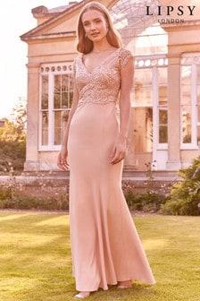 Платье макси с кружевом и V-образным вырезомLipsy Victoria