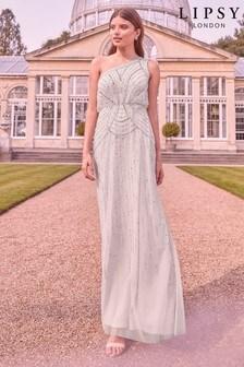 שמלת מקסי מקושטת עם צווארון קולר בעבודת ידוכתף חשופה דגם Emma של Lipsy