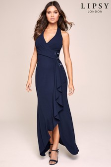 Lipsy X Gemma Halter Appliqué Maxi Dress