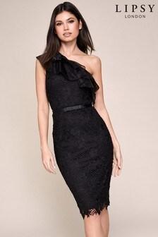 Lipsy Lace Organza One Shoulder Dress