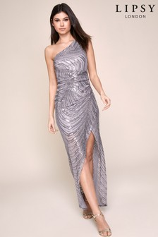 Lipsy Sequin One Shoulder Maxi Dress