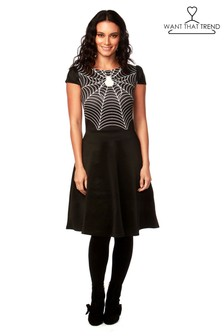 Want That Trend Spider Web Halloween Skater Dress