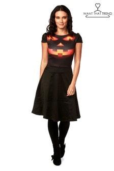 Want That Trend Smiley Pumpkin Contrast Halloween Skater Dress