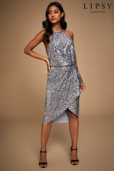Lipsy All Over Sequin Halter Midi Dress