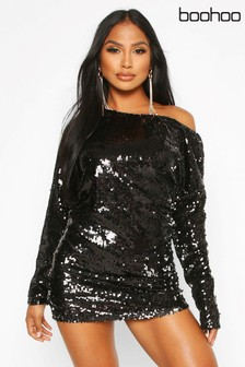 Boohoo Off Shoulder Sequin Tunic