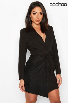 Boohoo Wrap Front Lace Detail Blazer Dress