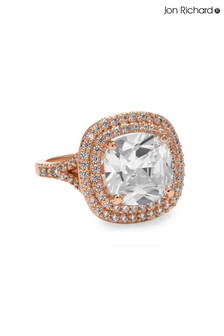 Jon Richard Plated Double Halo Square Cocktail Ring