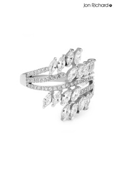 Jon Richard Plated Twisted Navette Cubic Zirconia Ring