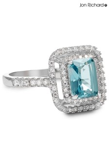 Jon Richard Aqua Blue Crystal Rectangle Cocktail Ring