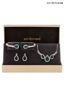 Jon Richard Blue Crystal Pear And Pave Necklace Bracelet and Earring Set
