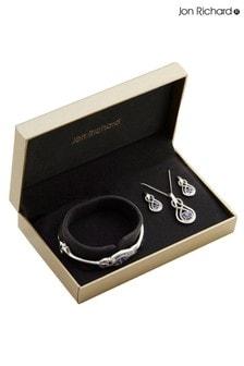 Jon Richard Crystal Blue Infinity Bangle Trio Set - Gift Boxed