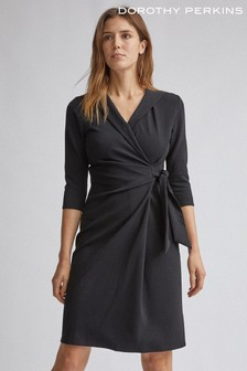 Dorothy Perkins Collar Wrap Belted Pencil Dress