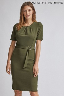 Dorothy Perkins Pleated Belted Pencil Dress