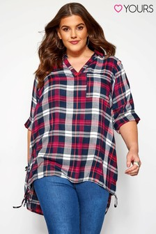 Yours Curve Lattice Side Check Shirt