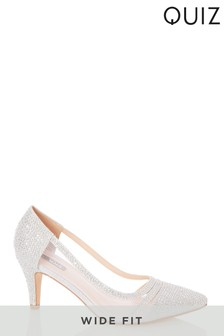 Quiz Wide Fit Shimmer Diamanté Detail Courts
