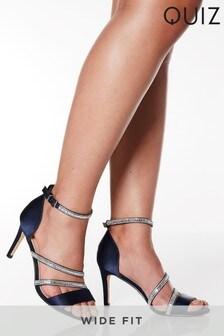 Quiz Wide Fit Satin Asymmetric Diamanté Strap Mid Heeled Sandal