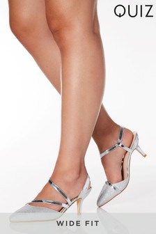Quiz Wide Fit Shimmer Low Heel Asymmetric Metallic Strap Court Shoe