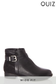 Quiz Wide Fit Buckle Diamanté Back Ankle Boot