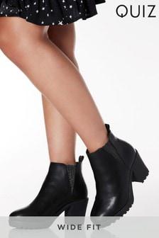 Členkové chelsea topánky na hrubej podrážke s lesklým elastickým pásom Quiz v širokom strihu