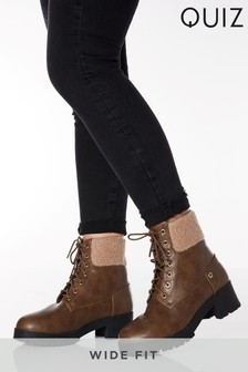 Quiz Wide Fit Shearling Cuff Lace Up Hiker Ankle Boot