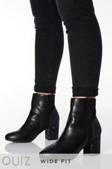 Quiz Wide Fit Glitter Heel Mixed Material Block Heel Ankle Boot