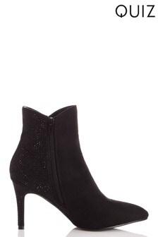 Quiz Diamanté Back Mid Heel Ankle Boots