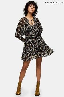 Topshop V neck Ruffle Mini Dress