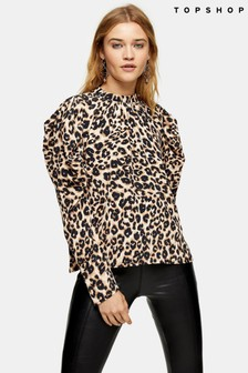 Topshop Animal Shirred Blouse