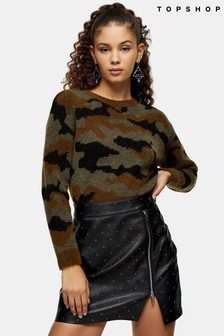 Topshop Print Knitted Jumper