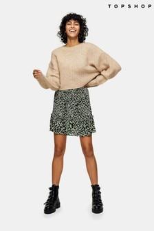 Topshop Pleated Camouflage Animal Print Mini Skirt