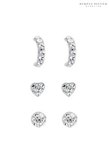 Simply Silver 925 Crystal Embellished Stud Earring Set