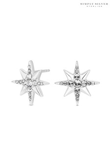 Simply Silver 925 North Star Stud Earring Embellished With Swarovski Crystals
