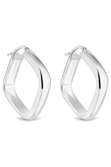 Simply Silver 925 Polished Large Square Earrings