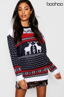 Boohoo Fairisle Reindeer Christmas Jumper