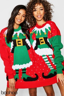 Boohoo Mr and Mrs Twin Christmas Jumper