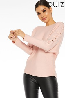 Quiz Embroidered Sleeve Light Knit Top