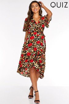 Quiz Animal Print Frill Wrap Dress