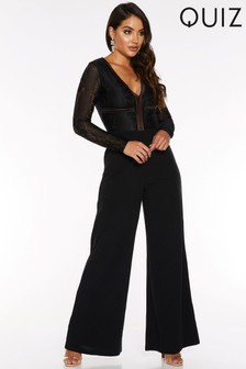 Quiz Lace V neck Long Sleeve Palazzo Jumpsuit