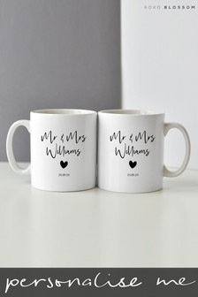 Personalised Mr & Mrs Mug Set By Koko Blossom