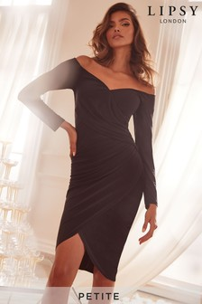 Lipsy Petite Acetate Bardot Slinky Wrap Midi Dress