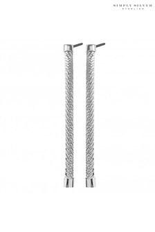 Simply Silver 925 Polished Herringbone Chain Drop Earring