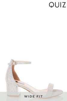 Quiz Wide Fit Shimmer Block Heel Sandals