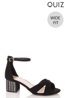 Quiz Wide Fit Diamanté Block Heel Sandals